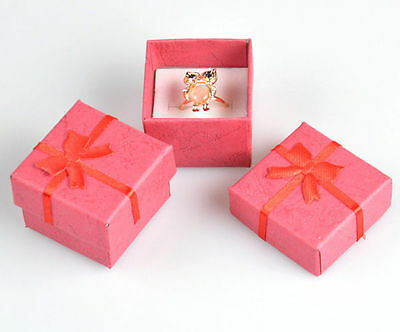 Hot Wholesale lots 24pcs Romantic Red bowknot Ring gift Boxes JEWELRY SUPPLIES