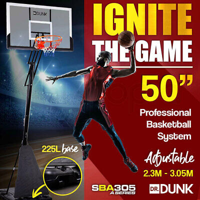 Dr.Dunk Portable Basketball Stand System Hoop Height Adjustable Net Ring Slam