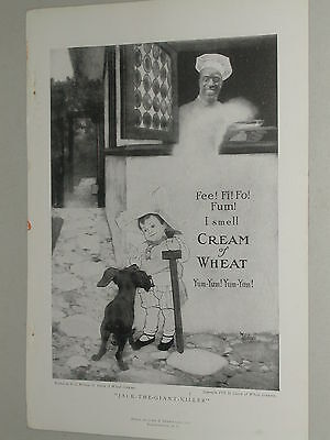 1918 Cream of Wheat advertisement, black cook, Jack, Giant Killer