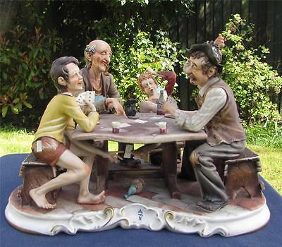 Rare Very Large Vintage 1960's Capodimonte Figure - Card Players - Signed