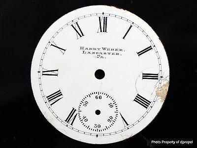 Antique Private Label Pocketwatch Dial out of Estate! Harry Weber Lancaster PA!