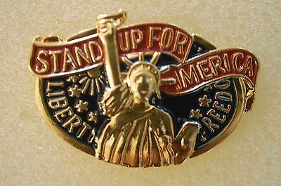 US USA Stand Up For America Patriotic Hat Lapel Pin