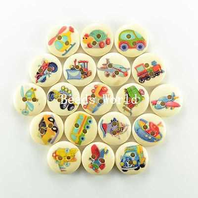 100 Pcs Mixed Transport Pattern 2 Holes Wood Sewing Buttons Scrapbooking 15mm