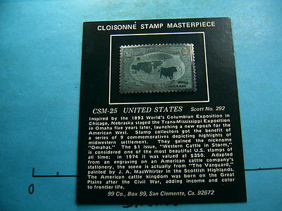 Western Cattle In Storm Stamp Enamel Commem 999 Silver Bar Coin Rare Sealed Nice