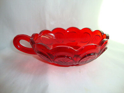 Fostoria  Ruby Red Glass  Handled Nappy  Bowl/dish