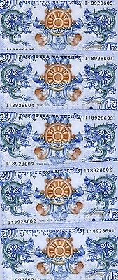 LOT Bhutan, 5 x 1 Ngultrum, 2013 P-New, UNC