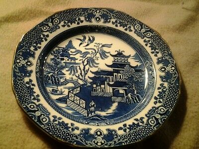 BURLEIGH/BURGESS & LEIGH 7 1/2 in plate BURLEIGH WARE BLUE WILLOW GOLD GILDED