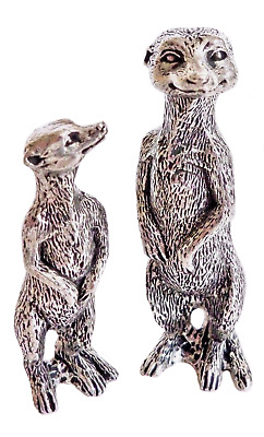 Meerkat Mother & Pup Pewter Ornaments - Hand Made in Cornwall - SF5758