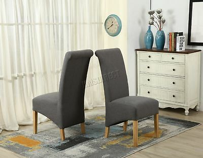 FoxHunter KMS Grey Linen Fabric Dining Chairs Scroll High Back Springed Seat X2