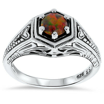 Antique Art Deco Style Orange Lab Fire Opal .925 Sterling Silver Ring,      #58