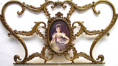 Large Gorgeous Vintage Ornate Antique Victorian of Brass Miniature Picture Frame