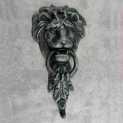 Majestic Lion Head Cast Iron Door Knocker ~Antiqued Verdigris Green Doorknocker~