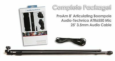 Audio Technica ATR55 ATR-6550 Video Shotgun Microphone Boom Mic Boompole Package