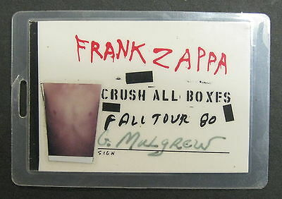 FRANK ZAPPA Crush All Boxes 1980 Fall Tour CREW LAMINATE Backstage Pass PROMO