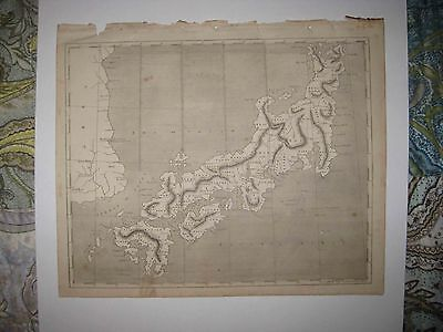 Antique 1805 Japan Niphon Unusual Land Areas Arrowsmith & Lewis Copperplate Map