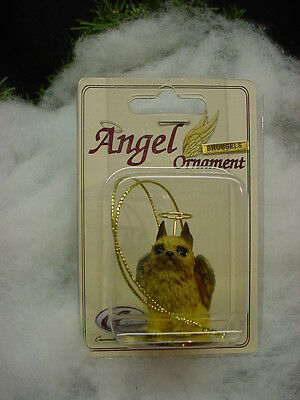 BRUSSELS GRIFFON dog ANGEL Ornament Figurine Statue Christmas red brown puppy