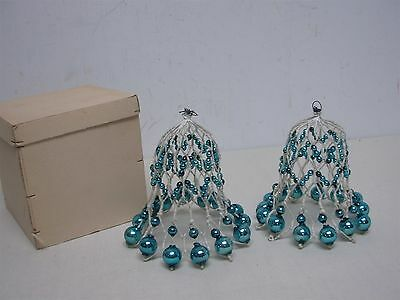2 Vtg W German Blue Glass Ball Twisted Cloth Covered Wire Christmas Bells 5.5""