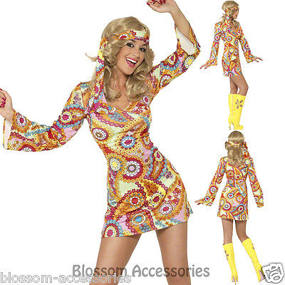 CL408 60s Hippie Chick Disco 1970s Retro Groovy Go Go Dance Party Dress Costume