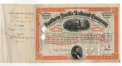 1885 Northern Pacific Railroad Company Stock Certificate - Wm. Rockefeller