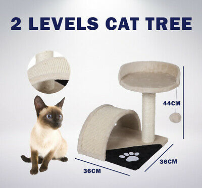 Cat Post Scratching Tree House | 2 Level | Gym Furniture Scratcher Pole Toy Bed