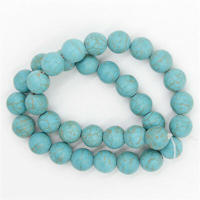1String Hotsale Round Blue Loose Natural Gemstone Spacer Turquoise Beads 12mm LC