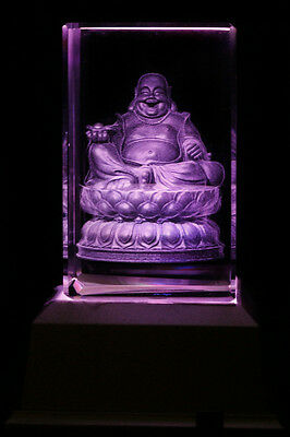 3D Buddha Maitreya Laser Collectable Inscribe Crystal LED Night Light DRLG01D