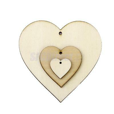 25 Unfinished Natural Wooden Love Heart Shapes DIY Craft Woodwork Embellishment