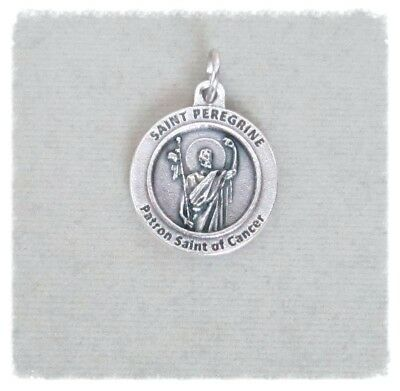 Saint St. PEREGRINE Charm ITALY Holy Medal ROUND Patron CANCER  M208