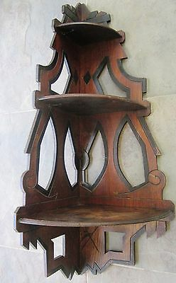 Antique 3 Tier Interior Corner Shelf Vintage Art Crafts Curio Carved Solid Wood