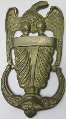 Large Stunning  Antique Brass Door Knocker Seal Emblem Proud American Eagle