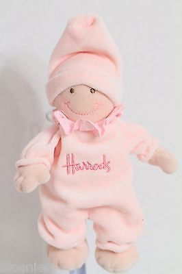 "Harrods Pink Velour 7"" Baby Doll Cloth Plush Toy Doll"