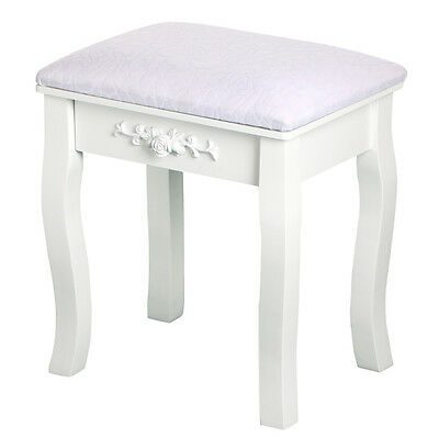 Vintage White Dressing Table Stool Padded Chair Makeup Piano Seat