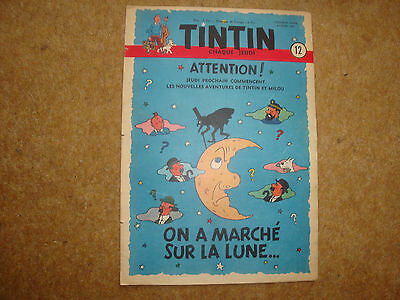 1950 Tintin Journal with Herge cover illustration advertising Destination Moon.