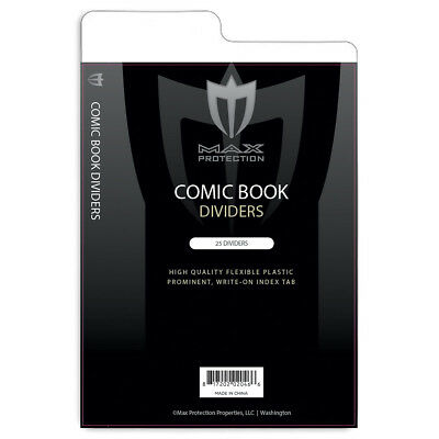 Pack of 25 Max Pro Tabbed White Comic Book Dividers - 7 1/4 X 10 3/4 separators