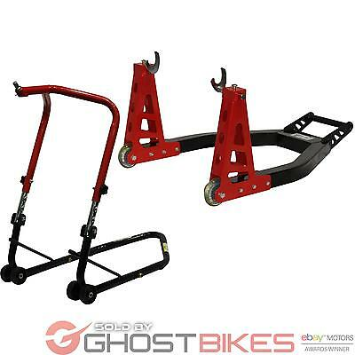 Black Pro Range Adjustable Front Head And Rear Motorcycle Paddock Stand Set