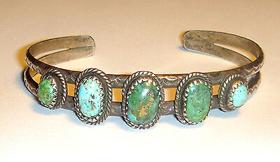 Vintage OLD PAWN 5 OVAL Cabochon NAVAJO TURQUOISE Stamped CUFF BRACELET