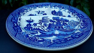 """Cobalt Blue Willow Restaurant Divied Grill Plate 10¼"""" Across x 1¼"""" Made in Japan"""