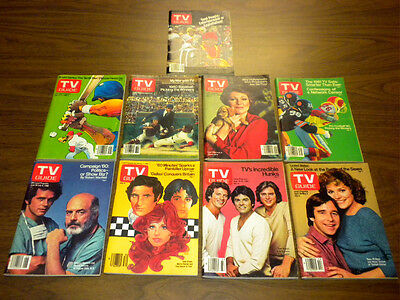 (9) TV GUIDE magazines from 1980 lot