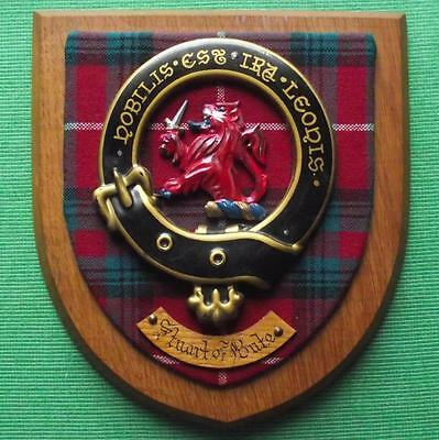 Old Scottish Carved Oak Clan Stuart of Bute Coat  Arms Plaque Crest Shield