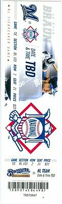 2012 Milwaukee Brewers Ticket: NL Tiebreaker Game Phantom