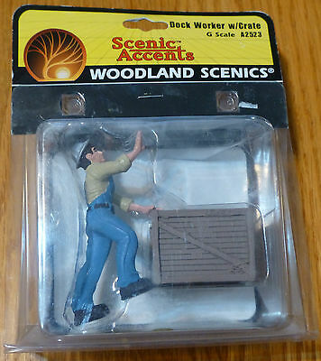 Woodland Scenics G Scale #2523  -  Dock Worker w/Crate
