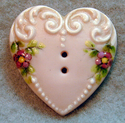 """Handcrafted Porcelain Button Heart  Fancy w/ Flowers FREE US SHIPPING   1"""""""