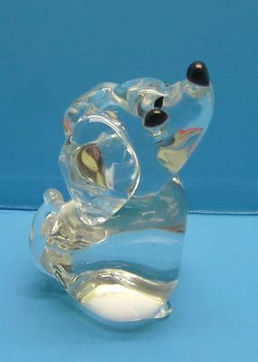 "Adorable Vintage Clear Lead Crystal 5 1/2"" Puppy Dog Paperweight Figurine"