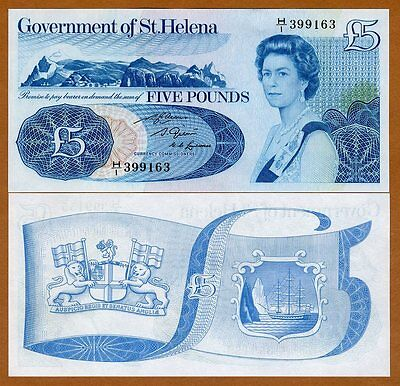 St. Helena, 5 Pounds, ND (1981), QEII, P-7b, Large Size Format, UNC