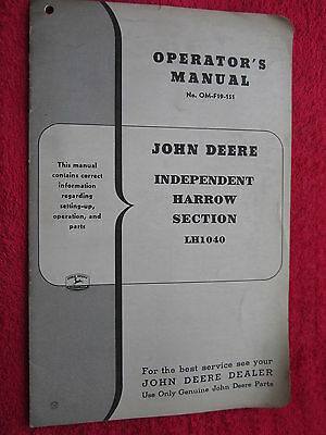 Vintage Original John Deere Lh1040 Independent Harrow Section Operators Manual