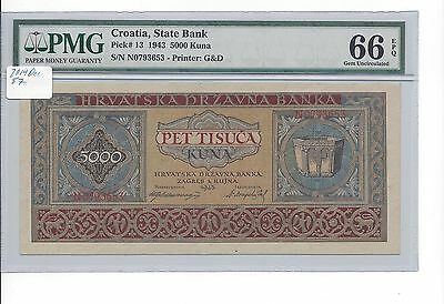 Croatia State Bank 1943 5000 Kuna  Pick 13  PMG 66EPQ GEM UNC  TOP POP