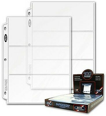 Case of 1000 BCW 3-Pocket Currency Album Pages dollar bill coupon binder sheets