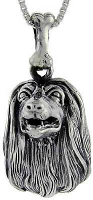 Sterling Silver Afghan Dog Pendant Charm High Quality 925 3D Canine
