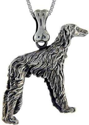Sterling Silver Afghan Dog Pendant Charm High Quality 925 3D Russian Wolfhound