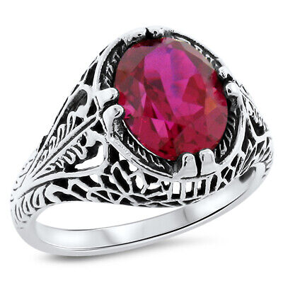 2.5 Ct Red Lab Ruby Antique Filigree Design .925 Sterling Silver Ring,      #690
